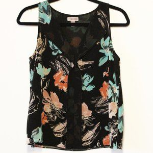 Gently Used Chelsea28 Black and Floral Blouse, XS